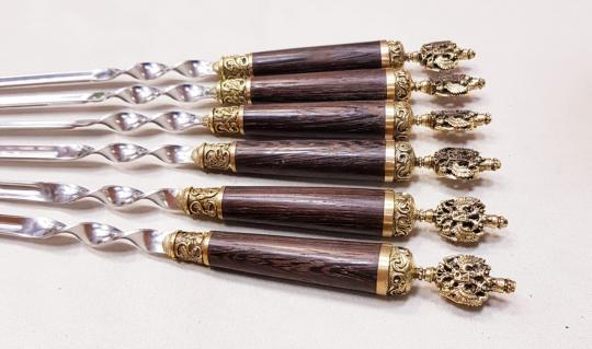 Шампура подарочные «РОССИЯ» с деревянной ручкой