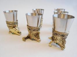 Стопки (перевертыши) подарочные «ЗВЕРИ», в футляре, худож. литье 6шт.