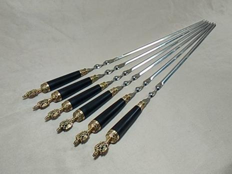 Шампура подарочные «РОССИЯ» с деревянной ручкой граб