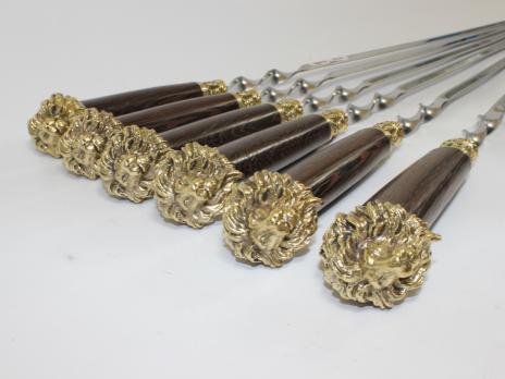Шампура подарочные «ЛЕВ» с деревянной ручкой венге