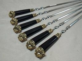 Шампура подарочные «ЛЕВ» с деревянной ручкой граб